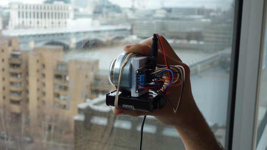 Participative surface speaker activating window to sound foghorns from America. 08-03-17
